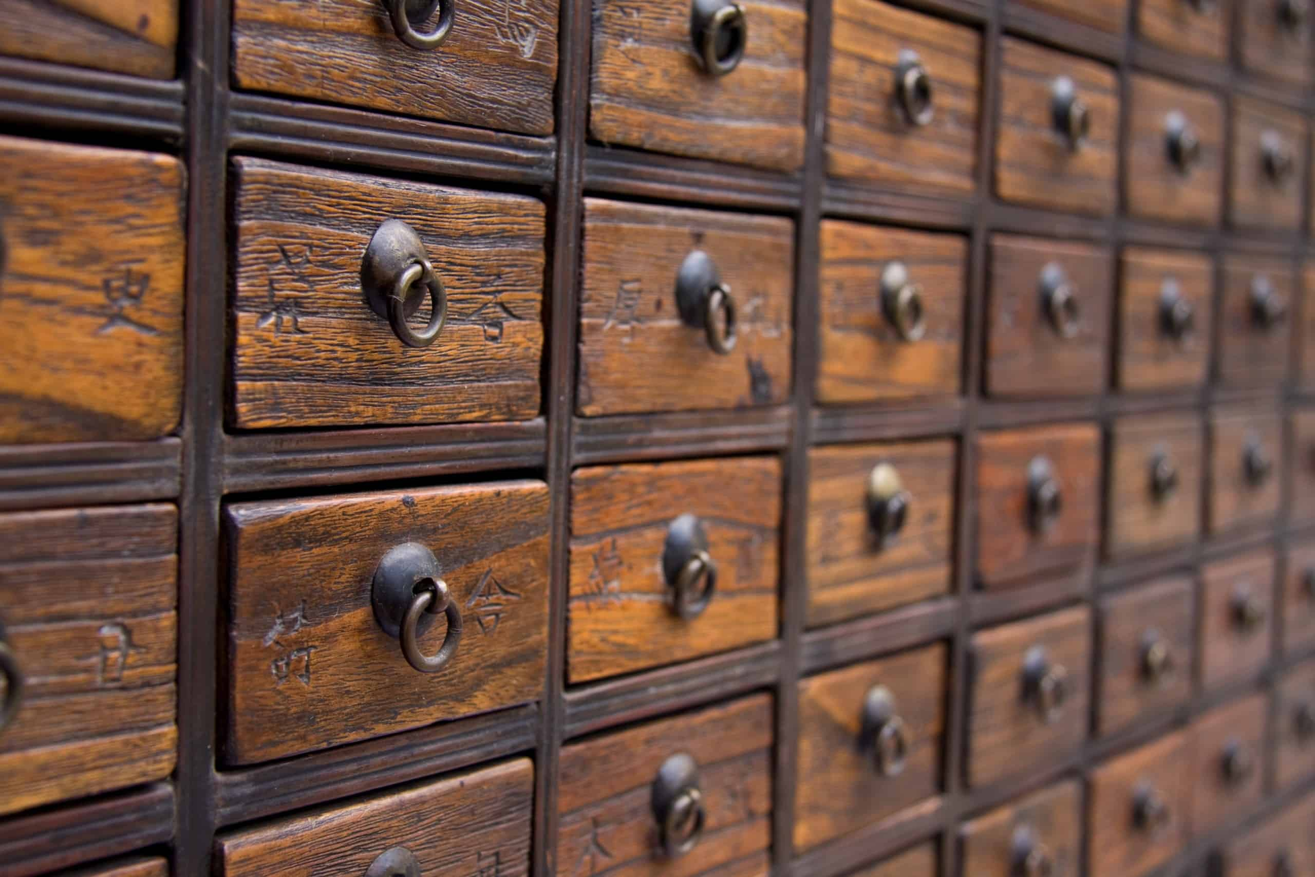 An antique chest used to store chinese medicinal herbs