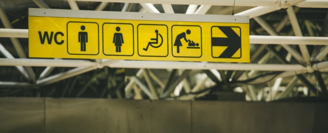 Those with IBS are often having to look for restroom signs.