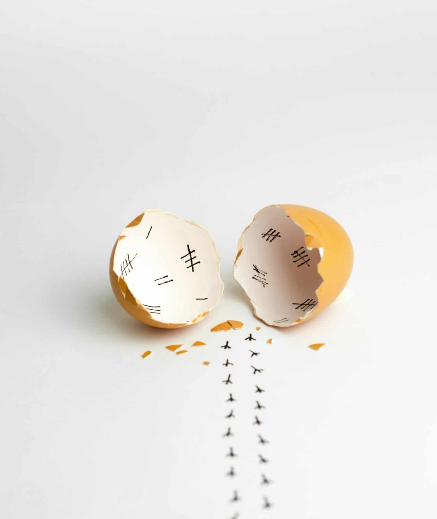 Acupuncture for low AMH? This image shows hash marks inside a broken eggshell, with tiny chicken foot prints walking away from the eggshell. This here is meant to demonstrate all the long days spent waiting while trying to get pregnant.