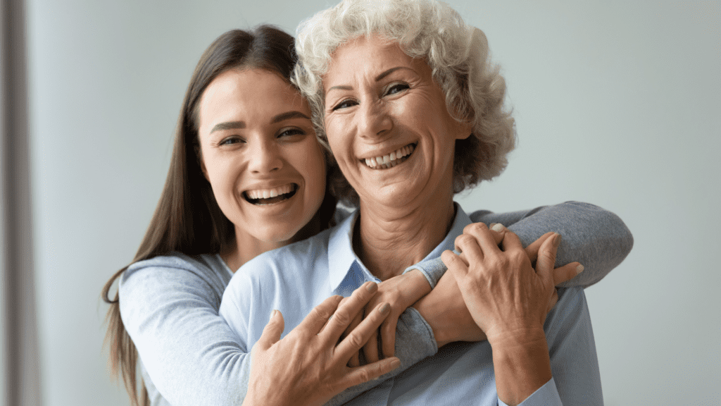 Two women of different ages look happy after receiving acupuncture in Richmond, VA.